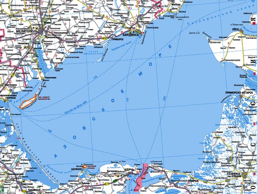 Для увеличения карты азовского моря